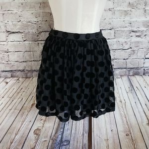 MinkPink Black Polka Dot Mini Skirt